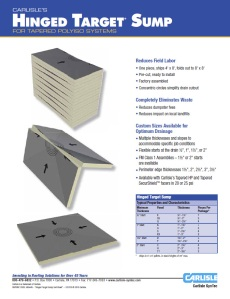 Hinged Target Sump Product Data Sheet